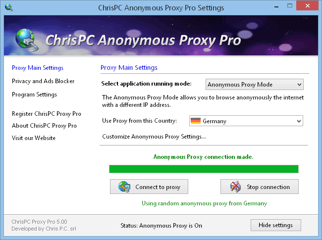 ChrisPC Free Anonymous Proxy full screenshot